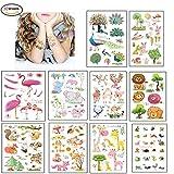 Morkia Tatuajes Temporales Para Niños Niñas, 100pcs Dibujos Animados Animales Perfecto Para piñata Niños Infantiles Fiesta de Cumpleaños Regalo Bolsas Relleno