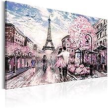 murando - Cuadro en Lienzo 120x80 cm - Paris - Lienzo tejido no tejido - Cuadro - Frankreich Torre Eiffel Paisaje Rosa d-B-0147-b-a