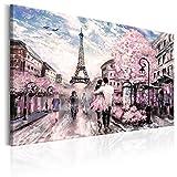 murando - Bilder 90x60 cm - Leinwandbild - 1 Teilig - Kunstdruck - Modern - Wandbilder XXL - Wanddekoration - Design - Wand Bild - Paris Frankreich Eiffelturm Landschaft Wie Gemalt Rose d-B-0147-b-a