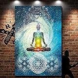 indien Tapisserie Yoga illustrations Sept chakras et méditation Home & Garden mural Décorations à suspendre, Polyester, multicolore, 78x58...