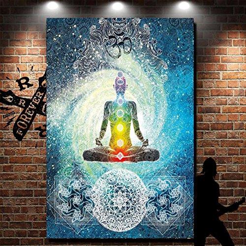 Yoga de la India Tapiz Arte y siete chakras Meditación hogar y jardín colgante de pared decoración, poliéster, multicolor, 78x58