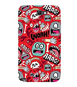 RED MULTIPLE CARTOONISH FACES 3D Hard Polycarbonate Designer Back Case Cover for Samsung Galaxy Note 2 :: Samsung Galaxy Note 2 N7100