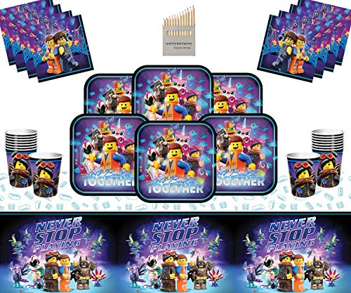 Lego movie party supplies per bambini party deluxe stoviglie usa e getta 16 kit- lego plate cup napkin table cloth