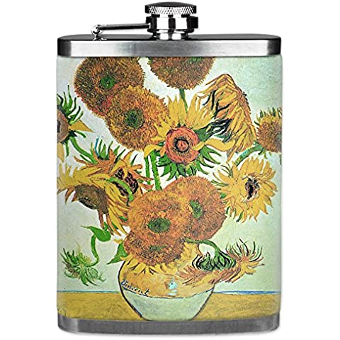 Mugzie brand 7 Oz Hip Flask with Insulated Wetsuit Cover - Van Gogh: Sunflowers by Mugzie