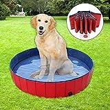 YAOBLUESEA Hundepool Doggy Pool Faltbarer Hunde Planschbecken Badewanne Pool in PVC Φ 160 x 30 cm Rot