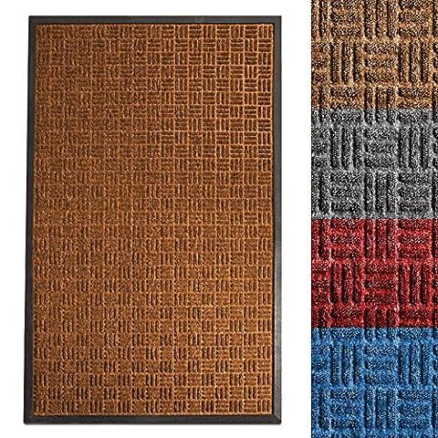 Tapis rouille etm® en polypropylene | paillasson absorbant et résistant - int. / extérieur | reliefs Océan - marron, 90x150cm
