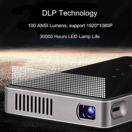 TECEVO P9 LED Video Projector  Mini Smart Android 6 0 Pico Projector - Vertical Keystone Correction - HDMI Input - Miracast and Airplay Function - Built-in 802 11AC Dual-Band WI-FI  Slim Wireless HD Portable Pocket DLP Home   Travel Cinema Theater
