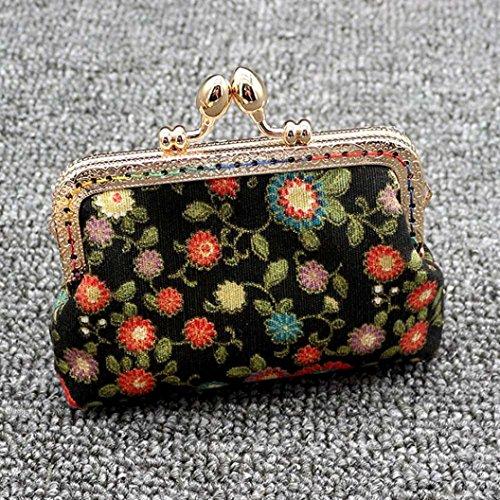 Portafoglio Donna, Tpulling Sacchetto della frizione della borsa di Hasp della borsa del raccoglitore del fiore dell'annata della signora Retro della donna (B) B