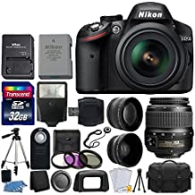 Nikon D3200 24.2 MP CMOS DSLR Camera (Black) + 18-55mm ED II AF-S DX Zoom Lens + 52mm 2X & Wide Angle Lens + Gadget Bag + Wireless Remote + Transcend 32GB Card - International Version (No Warranty)
