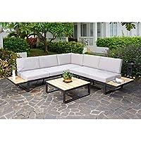 Loungemöbel Outdoor Albufeira Loungeecke 3 Teilig Aluminium/Akazie/Polster  Gartenmöbel Design