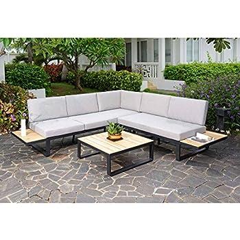 outliv loungem bel outdoor albufeira loungeecke 3 teilig aluminium akazie polster