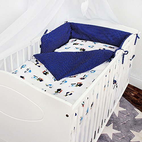 LULANDO Baby Bedding Set 70x140cm Anti­allergenic Pillow and Duvet with Covers, Fitted Bed Sheet, Crib Bumper, , Farbe:Airplanes / Dots