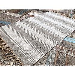 Algodón Natural y Yute Color Gris Blanco Rayas Alfombra 60cm x 90cm