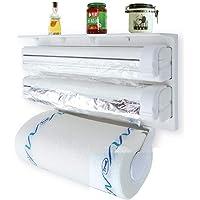 FLY Plastic Triple Tissue Paper Dispenser 4 in 1 Foil Cling Film Tissue Paper Roll Holder for Kitchen Triple Paper Roll…
