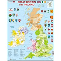 Larsen K18 Great Britain & Ireland Political Map, Jigsaw Puzzle with 48 Pieces, English Edition