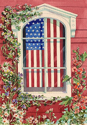 Toland Home Garden star-spangled Fenster Flagge, Polyester, House-L-28 x 40