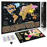 Rubbel Weltkarte zum Rubbeln | Set mit Rubbelkarte Europa | Design Geschenk Tube | Viele Extras - Gold/Schwarz - 61 x 42.7 cm Weltkarte, 46 x 33 cm Europakarte