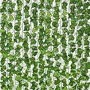24 قطعة من زينة الحائط من نبات اللبلاب الاصطناعي الحريري من جبسور بطول 158 قدم، اكليل نبات اخضر اصطناعي للتعلي