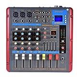 Ammoon Table de mixage Bluetooth 4canaux mono Stéréo ligne Mic numérique 2bandes d\'égalisation avec 48V d\'alimentation Phantom Interface USB
