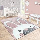Paco Home Kinderteppich Kinderzimmer Konturenschnitt Niedlicher Hase In Creme Rosa, Grösse:80x150 cm
