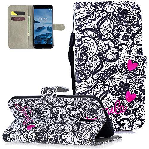Nokia 3.1 Hülle Leder,Slynmax Tasche Handyhülle Flip Cover Silikon Schutzhülle Lederhülle Skin Ständer Schale Handytasche Bumper Klappbar Ledertasche Kompatibel mit Nokia 3.1,Liebe Spitze Blume