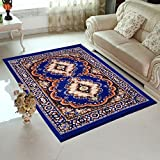 Home Elite Blue Colored Traditional Design Jute Filling Sheet Carpet (5 x7 Feet)