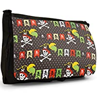Pirate Mania With Treasure & Parrots Large Messenger Black Canvas Shoulder Bag - School/Laptop Bag
