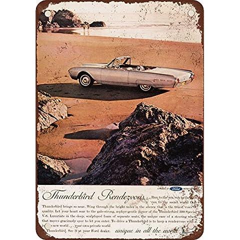 1962Ford Thunderbird Look Vintage Riproduzione in metallo Tin Sign 17,8x 25,4cm