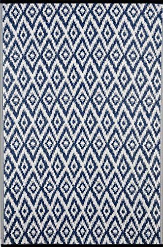 Green Decore Tapis léger Intérieur/extérieur réversible Plastique Tapis Bleu Espero \ Blanc - 0,9 x 1,5 m (90 x 150 cm), Bleu/Blanc