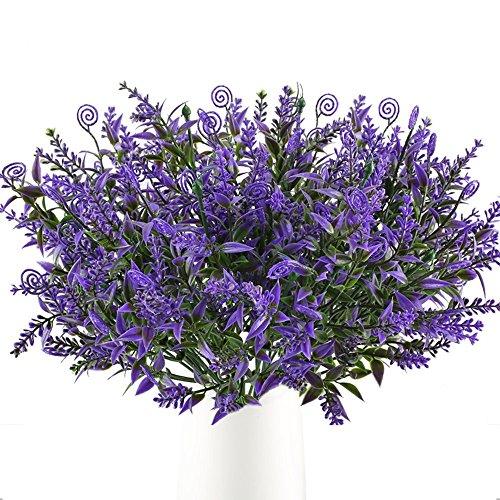 HUAESIN 4 pz bouquet fiori finti False Erba Lavanda felce artificiale arbusti artificiali Piante Plastica per balcone vaso matrimonio tavolo da pranzo giardino interno esterno,Viola