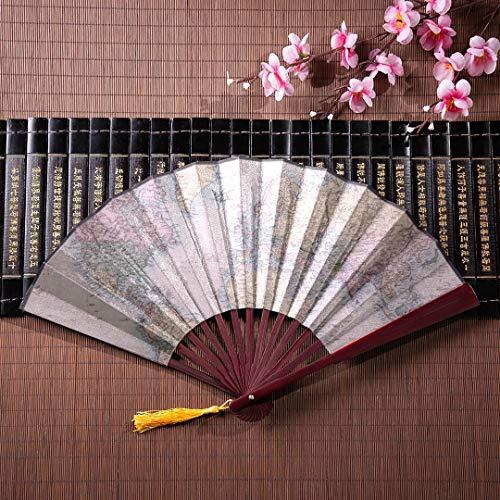 AGIRL Bambus Handheld Fan Cartoon lustige Weltkarte mit Bambus Frame Quaste Anhänger und Stoffbeutel Hand Fan personalisierte Hand Fan Männer Fan Hand groß
