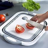 ARLICORPING™ Kitchen Cutting Chopping Board Sink Tub Storage Basket with Draining Plug Folding Cutting Board Washing Bowl Fru