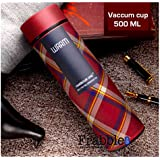 Frabble Double Wall Vacuum Flask Insulated Thermos Travel Stainless Steel Water Bottle With Strainer,( Pack Of 1 , 500ml , Mellow Mauve Colour -Warm)