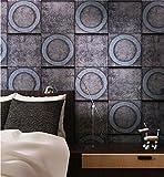 ZQHXW Tapete Retro Nostalgie industriellen Wind Kreis Ziegel Muster PVC Tapete Bar Wohnzimmer Hintergrund Wand Marmor Tapete 10 * 0,53 (M) (Color : A)
