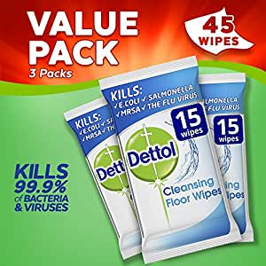 Dettol Antibacterial Floor Cleaning Wipes, 45 Wipes, Pack of 3 x 15