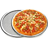 OLRADA Aluminum Pizza Screen Mesh Oven Baking Tray Round Plates (Silver, 8-10-inch) - Set of 2