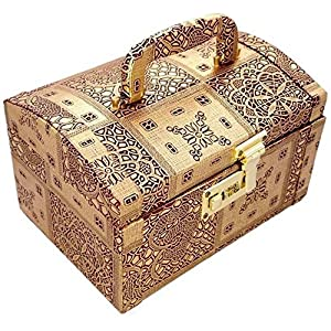 R S Jewels Wooden and Paper Vanity Box (9.5 X 6.5 X 6.5 Inches)