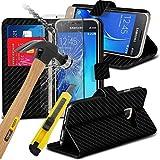 ( Black Carbon Fiber ) Samsung Galaxy J1 Mini Hülle Specifically Designed Buch-Art-Leder-Standplatz -Mappen-Kasten mit Kredit- / Debitkarte Slot kommt auch mit LCD-ausgeglichenes Glas-Schirm-Schutz-Schutz, Poliertuch und versenkbaren Stift, exklusiv bei Spyrox