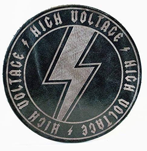 """Glas Untersetzer """"High Voltage"""", Schwarz, handgearbeitet aus 100% echtem Vintage Leder, Kreisdurchmesser ist 11cm"""