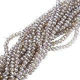 nbeads 10Stränge aus den Bereichen Großhandel 4mm Briolette facettiert ab Kristall Glas Perlen für Schmuckherstellung, grau, Loch: 1mm, über 148pcs/Strähne, 40,6cm