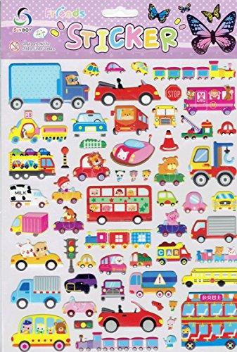 Charo 3D Auto Zug Bus LKW Ampel Bagger bunt Aufkleber 1 Blatt 250 mm x 200 mm Sticker Basteln Kinder Party