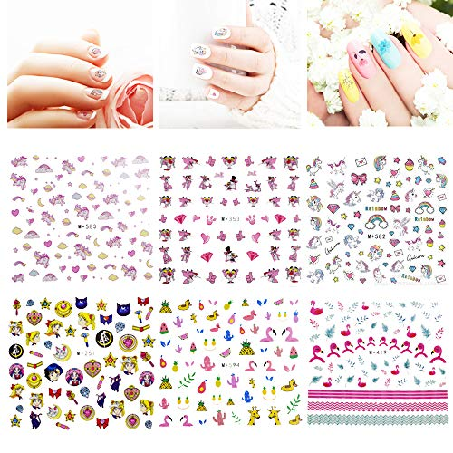Nagelsticker - INTVN 12 Blatt Einhorn Nail Art Aufkleber 3D-Design selbstklebende Tipp Nail Art...