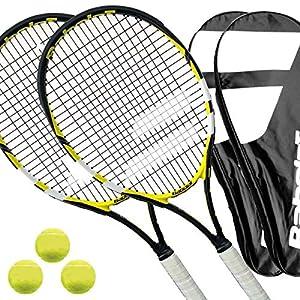 2 x Babolat Reflex – Tennisschläger besaitet L1/L2 + Cover + 3 Bälle