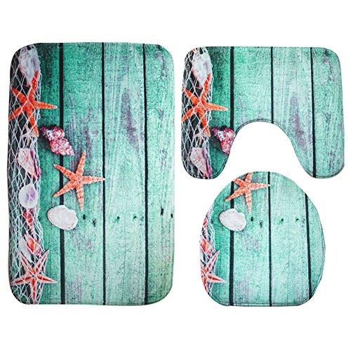 Moolecole tappetino da bagno beach seashells starfish sand vacanze estate morbido francese velluto bagno tappeto antiscivolo set di 3accessori per il bagno