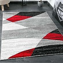 Moderna alfombra de salón, patrón geométrico, mezclado en gris, blanco, negro y rojo. Certificado Öko Tex, medidas: 120cm x 170cm