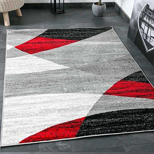 Moderno Salón Alfombra, geométrico patrón, en gris, color blanco, negro y rojo–Certificado Öko Tex, medidas: 120cm x 170cm