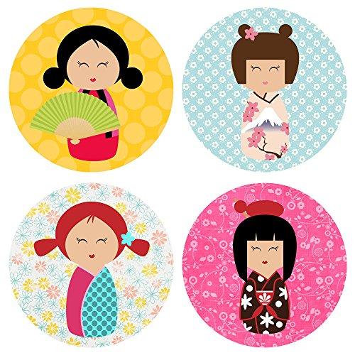 orations - EU Kokeshi Mädchen im Kimono-Aufkleber-Aufkleber - Geisha-Mädchen-Partei-Bevorzugungen Umschlag Aufkleber - Satz von 50 ()
