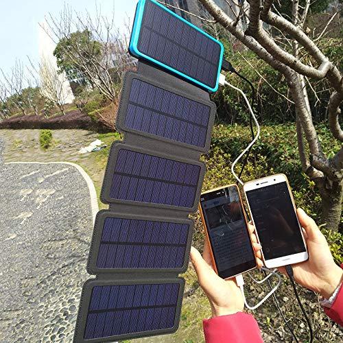 LTKKK Solarladegerät, 159 * 90 * 42mm Faltbarer Solarladeschatz, tragbare Mobile Solarenergie im Freien 16000 mAh mit Campinglichtern, 3 Sonnenkollektoren, für Smartphones, Tablets und mehr - Solarenergie-handy-fall