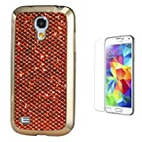 Pheant® [2in 1] Samsung Galaxy S5 Mini Schutzhülle Glitzer mit Panzerglas(9H Härtegrad,Ultra-klar),Silikon Hülle Glänzend Pailletten Design in Rot (Das glitzer Rückseite + Galvanotechnik Stoßrahmen)