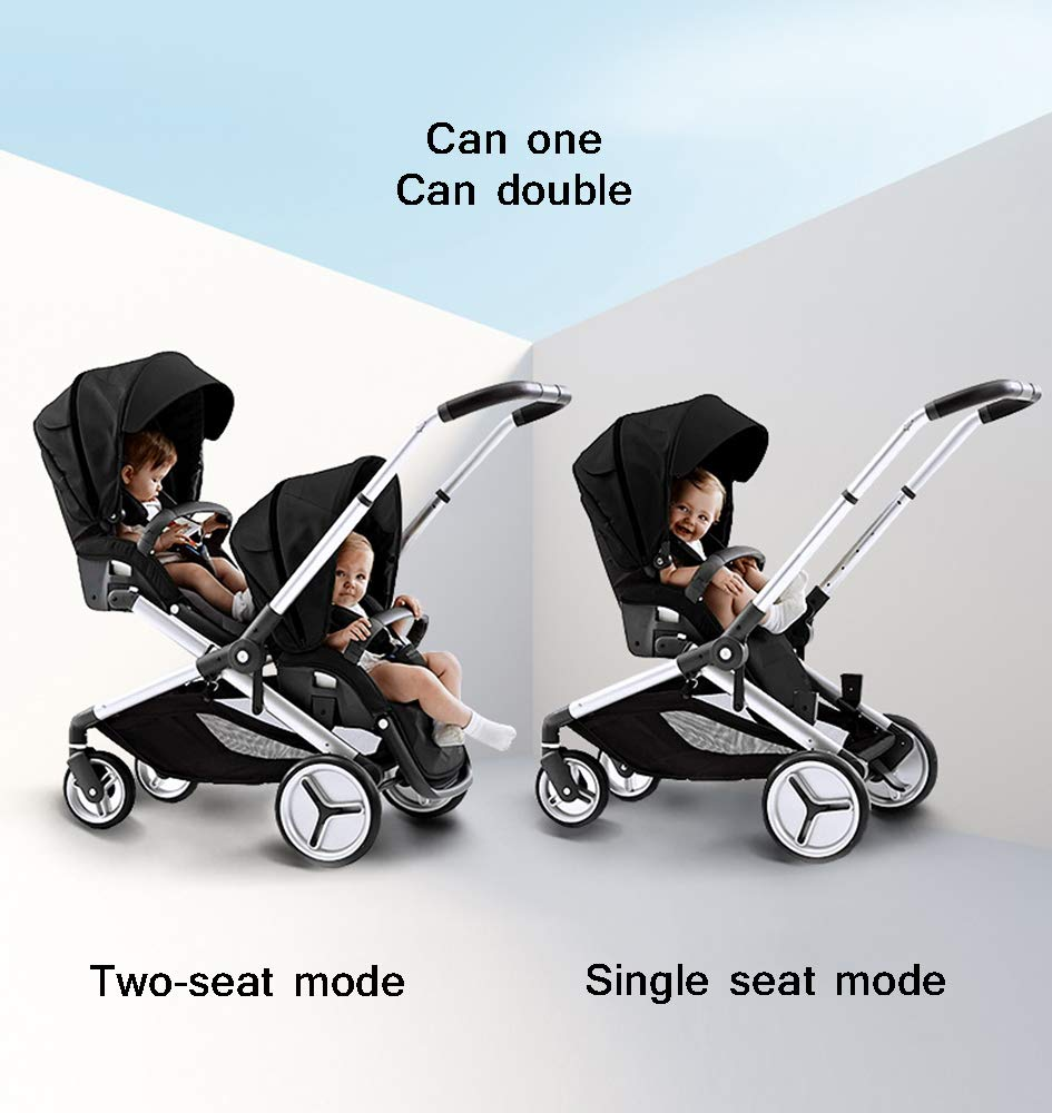 MYRCLMY Baby Strollers Double Pushchair Twins Tandem Pushchair,Lightweight With Convertible Bassinet Stroller Extended Canopy/Large Storage Basket MYRCLMY *LIGHTWEIGHT - Travel-friendly lightweight design is perfect for traveling and day trips. *EXTRA SPACE - Multi-position tilting seat and rotating calf support can be easily adjusted to ensure baby comfort; large storage basket and two integrated seat back pockets provide extra space for your baby. *RECLINING SEAT -- Reclining seat offers 5-point safety restraint system and accommodates child to 50KG per seat. 3